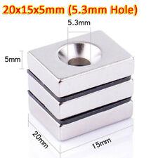 N35 Block 20x15x5mm Ndfeb Neodymium Magnets Block Neo Diy Rare Earth 53mm Hole