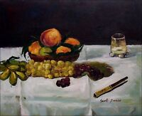 Edouard Manet Fruit on a Table Repro, Hand Painted Oil Painting 20x24in