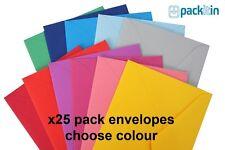 25 pack C6 envelopes 114x162mm - CHOOSE COLOUR - red pink blue purple green grey