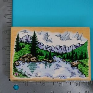 Stampendous Majestic Lake Scene P009 Wood Mounted Rubber Stamp 1998 Made in USA