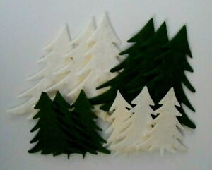 PACK 12 CHRISTMAS TREE (2 SIZES) EMBELLISHMENTS FOR CARDS & CRAFTS