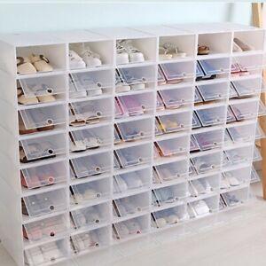 10 X Scatole Scarpe Scarpiera Box Scarpa Organizzatore in Plastica Trasparente