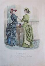 1882 MODA ITALIANA Damine Margherita Treves Editore litografia design costume