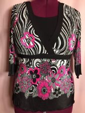 Bay Studio Career Petite PXL Women's Blouse Black Pink Floral Crinkle Top F4