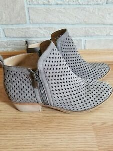 Women's Lucky Brand Basela Ankle Boots Booties Shoes Size 7M Gray Leather