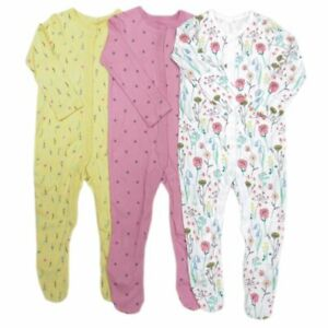 Baby girls ex F&F 3 pack baby grows sleepsuit 9-12 12-18 18-24 months