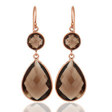 Smoky Gemstone Dangle Hook Earrings Fashion 925 Silver Excellent Jewelry