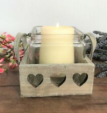Rustic Wooden Heart Candle Holder Candlestick Vintage Style Country Shabby Chic