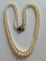 Beautiful Finest Vintage Double Graduated Cultured Pearl Necklace