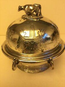 Antique Victorian Middletown Plate Co Silver Quadruple Plate Butter Dish, c.1880