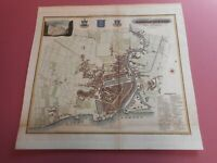 100% ORIGINAL KINGSTON UPON HULL CITY MAP BY BAINES  C1822 VGC HAND COLOURED