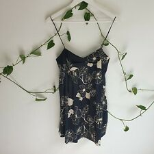 Zimmerman Black Beige Floral Micro Mini Cami Slip Dress 0 (AU6) Summer Party