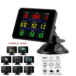HUD Head Up Display Speedometer Alarm Oil Water Temp Gauge Monitor Car SUV OBD2