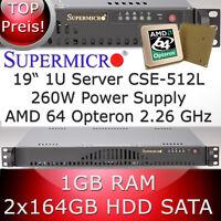 1U/1HE SUPERMICRO SERVEUR AMD Opteron 64 2.26 Ghz 1GB RAM 2 x 164GB Disque dur