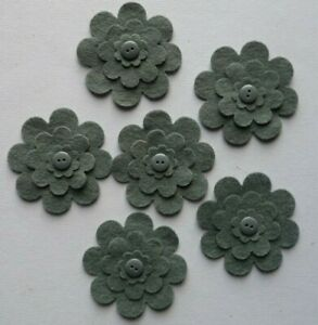 FELT FLOWER & BUTTON LAYERED EMBELLISHMENTS DIE CUT SHAPES grey