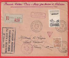 1ER VOL CASABLANCA PARIS 1953 TAXE SOUK EL ARBA DU RHAB PARIS LETTRE COVER
