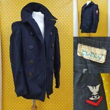 Vtg WW2 US Navy Kersey Wool Enlisted Bridge Naval mariner Pea Coat Jacket 34