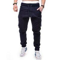 Men's Multi-Pocket Elastic Waist Cargo Pants Sweatpants Drawstring Trouser Size