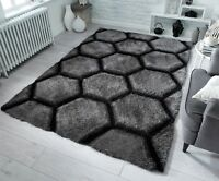 Verge Honeycomb Charcoal Grey Handcarved Thick 3D Shaggy Rug in various sizes