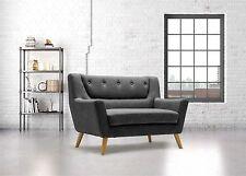 New Modern Birlea Lambeth 2 Seater Grey Medium Sofa Scandinavian Retro