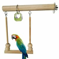 Wooden Parrot Bird Cage Perches Stand Tree Branch Pet Budgie Hanging Toys