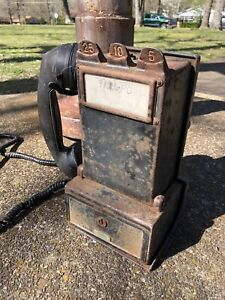 Early Antique Gray Paystation Telephone Rare Vtg Old Coinop