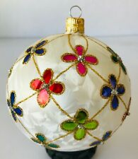 Neiman Marcus Christmas Ornament Large White with Colorful Flowers & Beads 4""