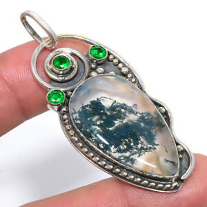 """Indian Moss Agate & Emerald Vintage 925 Sterling Silver Pendant 2.4"""" M1527"""