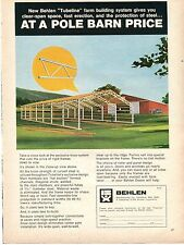 1970 Print Ad of Behlen Tubeline Farm Building at a pole barn price
