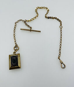 """Antique Victorian Yellow Gold Filled Intaglio Fob Watch Chain Necklace 12"""""""