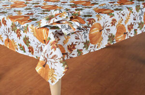 "Thanksgiving Fall Tablecloth Leaves Pumpkins Thanksgiving Tablecloth 60x84"" OVAL"