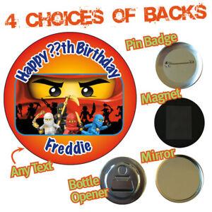 Personalised Ninjago Kids Birthday Party Bag Big Badge Magnet Bottle Opener 630