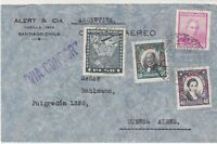 Chile Via Condor Airmail Multiple Stamps Cover to Buenos Aires Ref 25748
