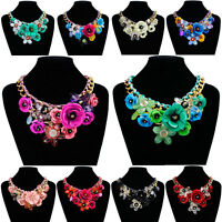 Women Crystal Flower Choker Bib Chunky Statement Chain Necklace Fashion Jewelry