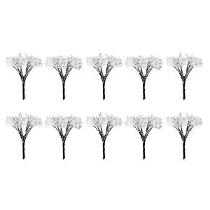 10pcs White Flower Tree Landscape Micro Scenery Railroad Layout Accs 4cm