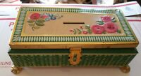 VTG FRICKE & NACKE FOOTED TIN WESTERN GERMANY  BANK EMBROIDERED FLOWERS