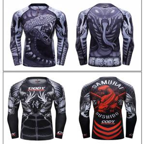 Long Sleeve Compression T-Shirt Rash Guard JIU JITSU BJJ Martial Arts MMA Men's