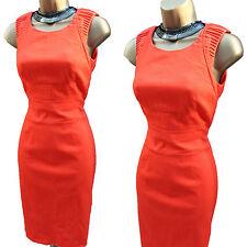 Gorgeous Karen Millen DQ133 Orange Cotton Sleeveless Wiggle Cocktail Dress UK 8