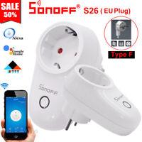 Sonoff S26 Type F TFTTT WIFI Smart Power Socket Wireless Plug Time Fr Alexa IOS