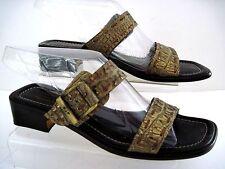 DONALD J. PLINER ANKARA Gold Olive Croc Print Leather Sandals Size 8 1/2 M Italy