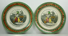 Adams - CRIES OF LONDON - PAIR OF SAUCERS - NARROW GREEN TRIM WITH LEDA BORDER