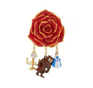 Les Nereides N2 BEAUTY & BEAST Red Gold-Tipped Rose Brooch