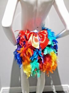 RAINBOW FEATHER BUSTLE WITH RED BOW