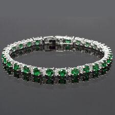 Xmas Fashion Jewelry Round Cut Green Emerald Tennis Statement Fashion Bracelet