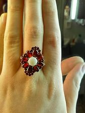 Vintage Vermeil Bohemian Garnet and Opal Ring Gold .925 Sterling Silver