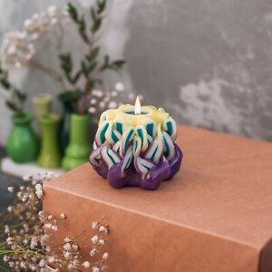 """Handcrafted Candles Yellow-Purple 2,5"""" Eco Friendly Materials Unscented Mothers"""
