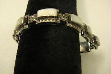 alt/antik? Silberarmband 800 Perlmutt+VIELE Markasiten Federverschluß Armband