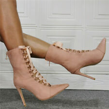12.5 Womens Faux Suede Pointed Toe Stilettos Lace Up Heel Ankle Boots Prom Shoes