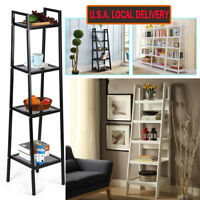 4-Tier Bookcase Bookshelf Leaning Wall Shelf Shelving Ladder Storage Display US