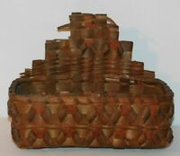 VTG Antique Primitive Woven Basket Wall Hanger Mail Holder 9 x 4 x 7